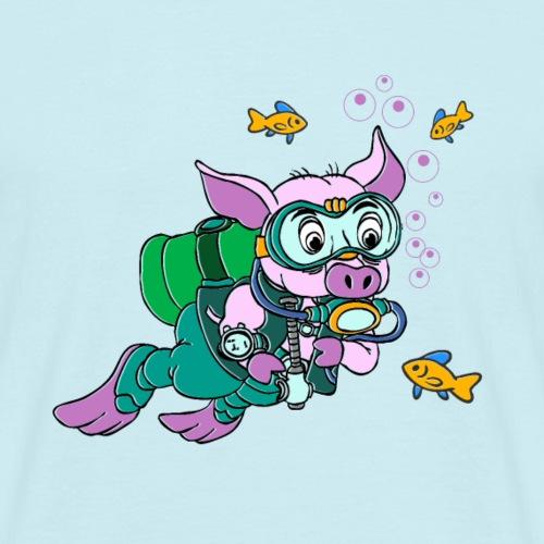 Diver plongeur cochon avec poisson sous l'eau