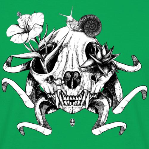 Le crâne les fleurs et l'escargot