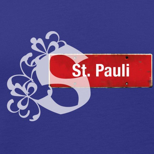"""(Hamburg-) St. Pauli, Ortsschild mit Tattoo-""""S"""""""