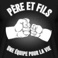 T-shirt Père Et Fils Une Équipe Pour La Vie noir par Tshirt Family