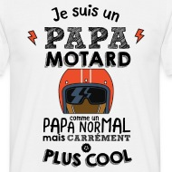T-shirt Papa motard carrément plus cool blanc par Tshirt Family