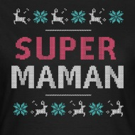 Tee shirt Super maman de noël noir par Tshirt Family