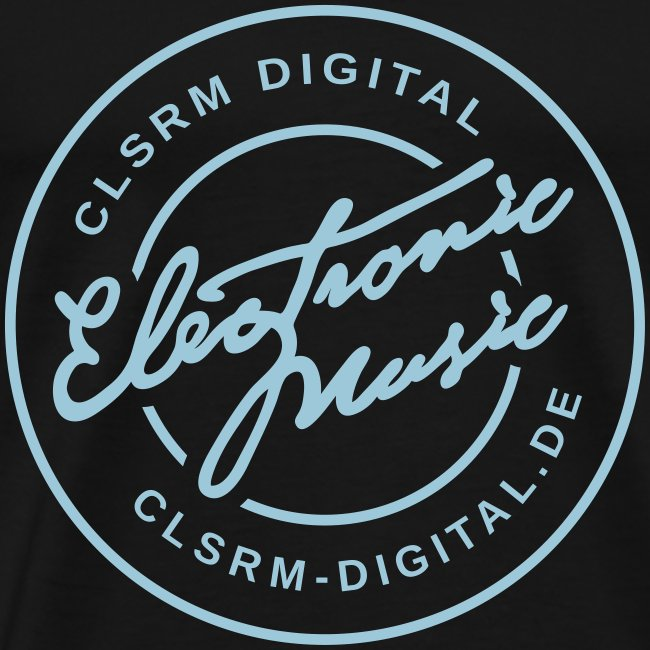 "Mens T-Shirt Badge ""Electronic Music"" 1c Cyan Light"