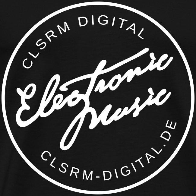 "Mens T-Shirt Badge ""Electronic Music"" 1c White"