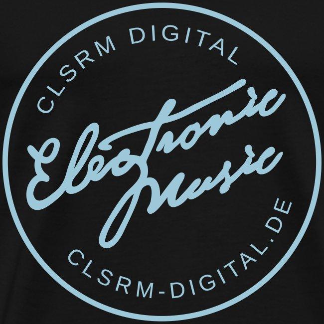 "Mens T-Shirt Badge ""Electronic Music"" 1c Light Blue"