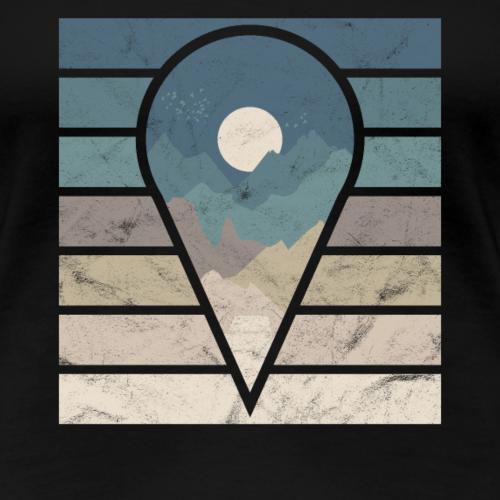 Point de repère de cadeau silhouette montagnes pleine lune