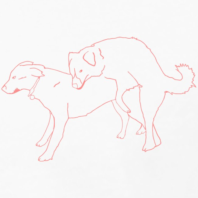 Doggies white with red print