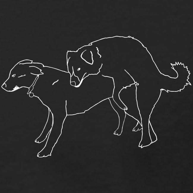 Doggies long black with white print
