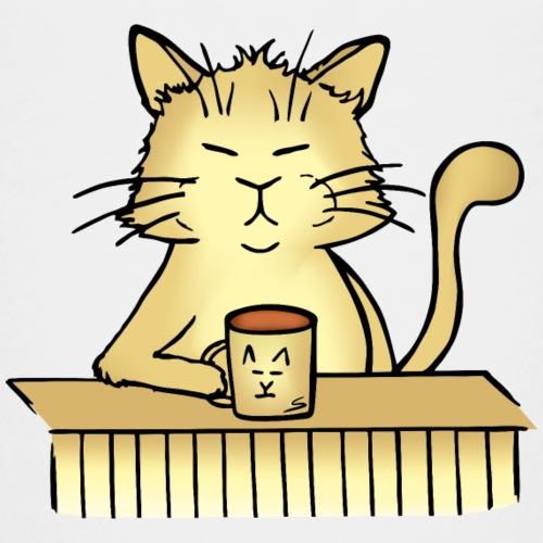 Müde Katze mit Tee / Kaffee-Tasse