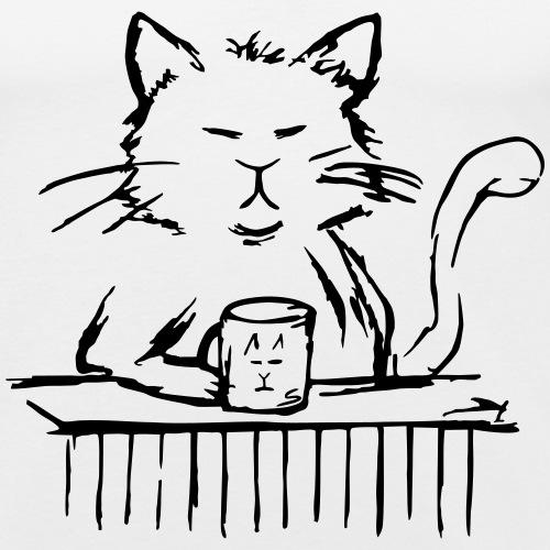 Müde Katze mit Tee / Kaffee-Tasse - Sketch