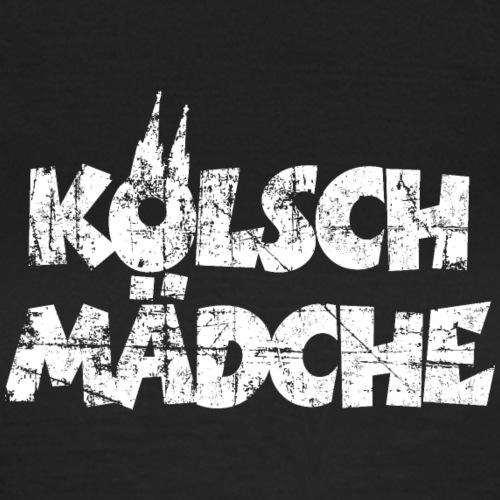 Kölsch Mädche mit Kölner Dom Köln (Vintage Weiß)