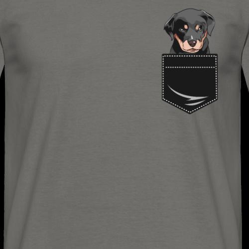 Rottweiler chien dans la poche de cadeau de poche de chemise