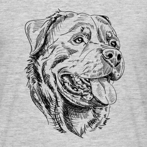 Dessin à l'encre de portrait Rottweiler
