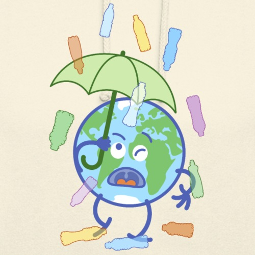 Earth protecting from plastic bottles rain