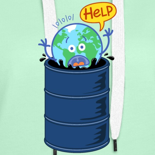 Earth asking for help when drowning in oil barrel