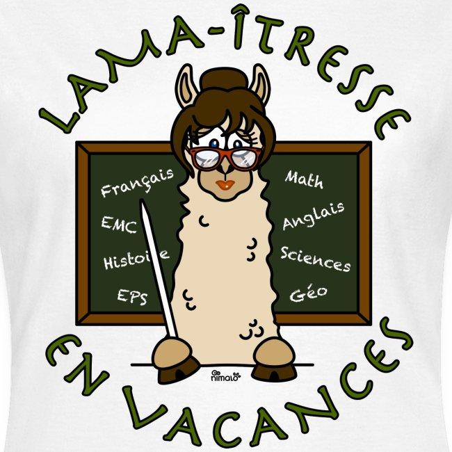 "T-shirt femme ""Lama-îtresse"" cadeau instit, maîtresse Lama"