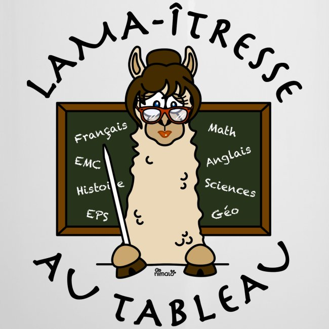 """Tasse émaillée """"Lama-îtresse"""" cadeau instit, maîtresse, Lama"""