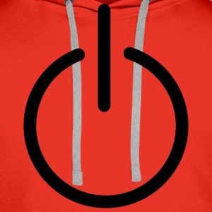 Red power button Men's Longsleeves - Men's Premium Hoodie
