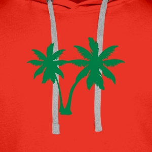 Red palm trees Men's Longsleeves - Men's Premium Hoodie