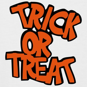 Hvit/svart trick or treat T-skjorte - Kortermet baseball skjorte for menn