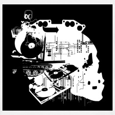 White Turntable Skull T-Shirts