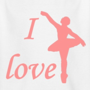 Wit I love ballet Kinderkleding - Teenager T-shirt
