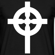 Motif ~ T-Shirt noir croix celte blanche devant