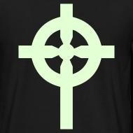 Motif ~ T-Shirt noir croix celte phosphorescente derrière