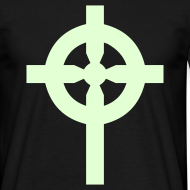 Motif ~ T-Shirt noir croix celte phosphorescente devant