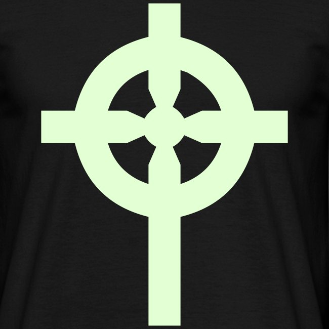 T-Shirt noir croix celte phosphorescente devant