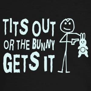 Black/white Tits Out or the Bunny Gets it T-Shirts - Men's Ringer Shirt