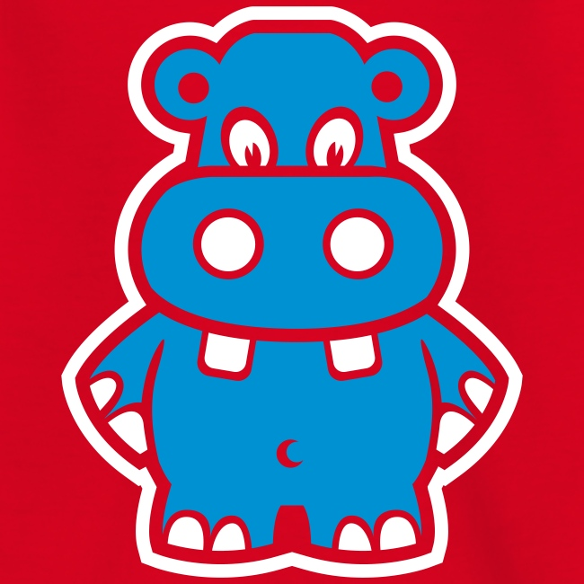 Cute For Kids - Blue Hippo (Red)