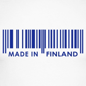 White/navy Bar code Made in Finland Men's Longsleeves - Men's Long Sleeve Baseball T-Shirt