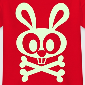 Red Bunny and Crossed Bones Juniors - Teenage T-shirt