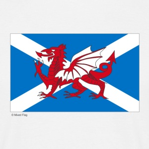 White Scotland Wales Mixed Flag Men's Tees - Men's T-Shirt