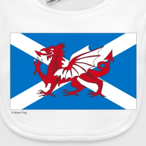 White Scotland Wales Mixed Flag Accessories - Baby Organic Bib