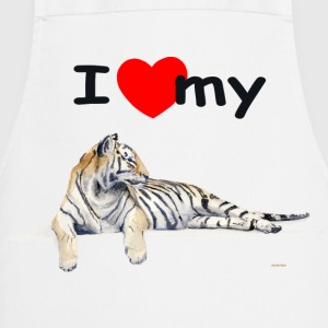 White i_love_my_siberian_tiger_for_light  Aprons - Cooking Apron
