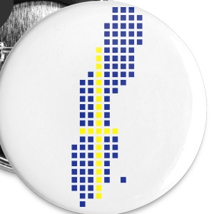 White Sweden flag pixel map Accessories - Buttons small 25 mm