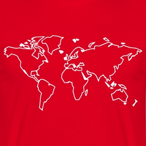 Röd World map T-shirts (kort ärm) - T-shirt herr