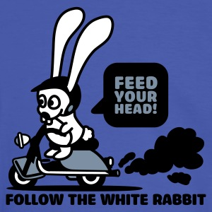 Blau/weiß follow the white rabbit T-Shirt - Männer Kontrast-T-Shirt