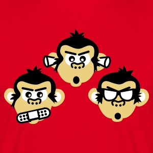 Rot three wise monkeys T-Shirt - Männer T-Shirt