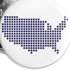 White United States Pixel Map USA Accessories - Buttons small 25 mm