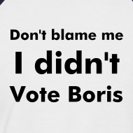 Design ~ Men's navy & white  I Didn't Vote Boris T shirt