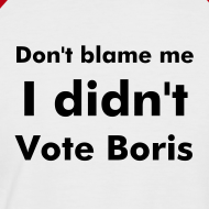 Design ~ Men's red & white  I Didn't Vote Boris T shirt
