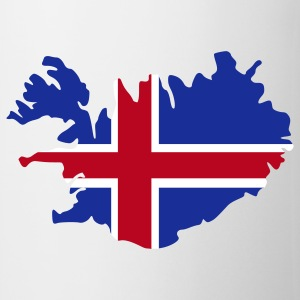White Iceland Island Flag map Mugs  - Mug