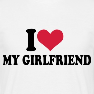 Hvid I love my girlfriend T-shirts (kortærmet) - Herre-T-shirt