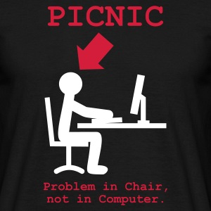 Svart Problem in Chair, not in Computer T-shirts (kort ärm) - T-shirt herr
