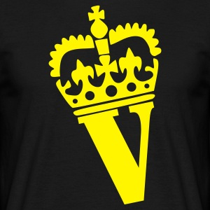 Svart V - Crown - Letters - Name T-skjorte - T-skjorte for menn