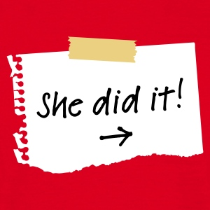 Rood She did it! T-shirts - Mannen T-shirt