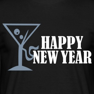 Sort Happy New Year T-shirts (kortærmet) - Herre-T-shirt